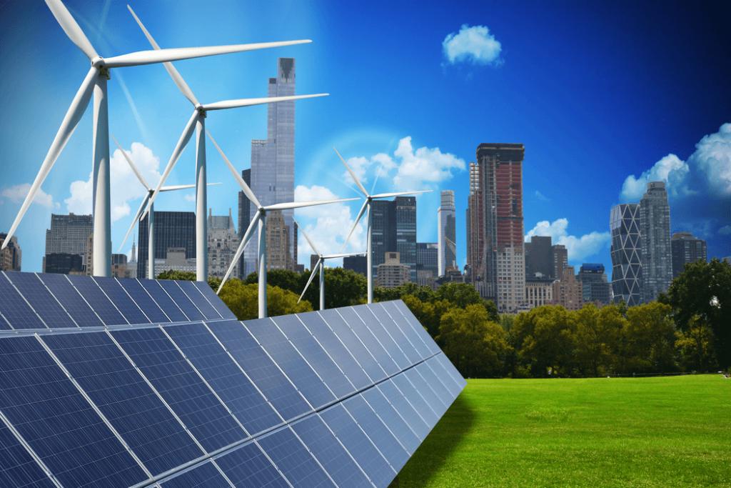 Ciudad moderna alimentada solamente por energía renovables