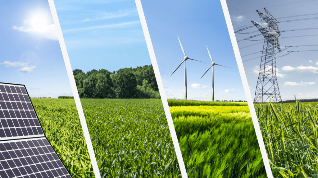 Collage conceptual de las energías renovables
